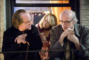 Philip Seymour Hoffman Michelle Williams and Tom Noonan (playing the Hoffman character as Larry David).